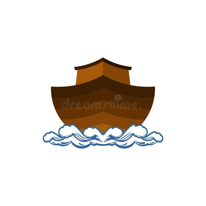 Logo of Noah`s Ark. Ship to rescue animals and people from the Flood. Biblical illustration. Logo of Noah`s Ark.  Ship to rescue animals and people from the stock illustration