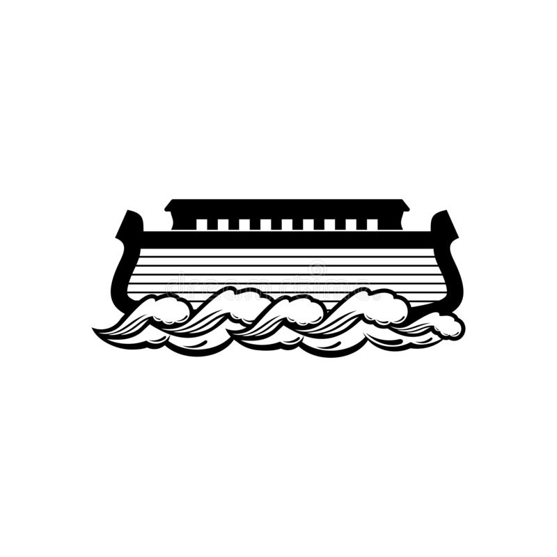 Logo of Noah`s Ark. Ship to rescue animals and people from the Flood. Biblical illustration. Logo of Noah`s Ark.  Ship to rescue animals and people from the royalty free illustration