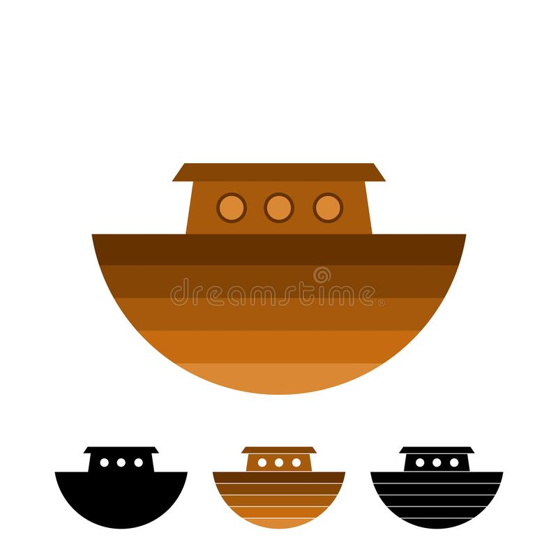 Logo of Noah`s Ark.  Ship to rescue animals and people from the Flood. Biblical illustration.  stock illustration