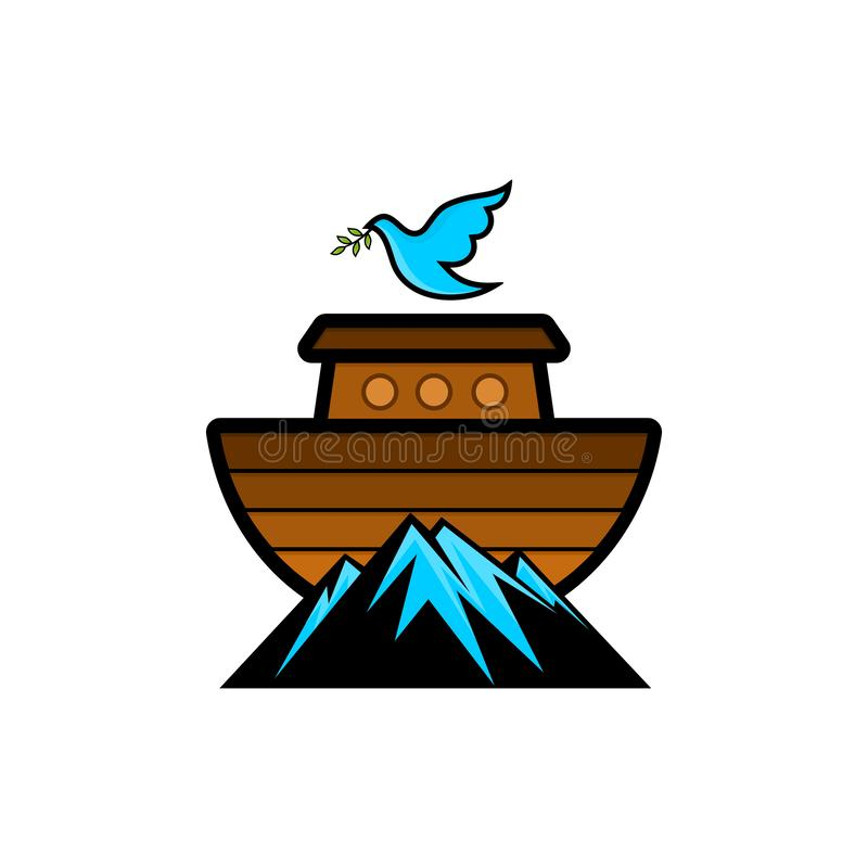 Logo Noah`s ark on top of the mountain. Dove with a branch of olive. Ship to rescue animals and people from the Flood. Biblical illustration stock illustration