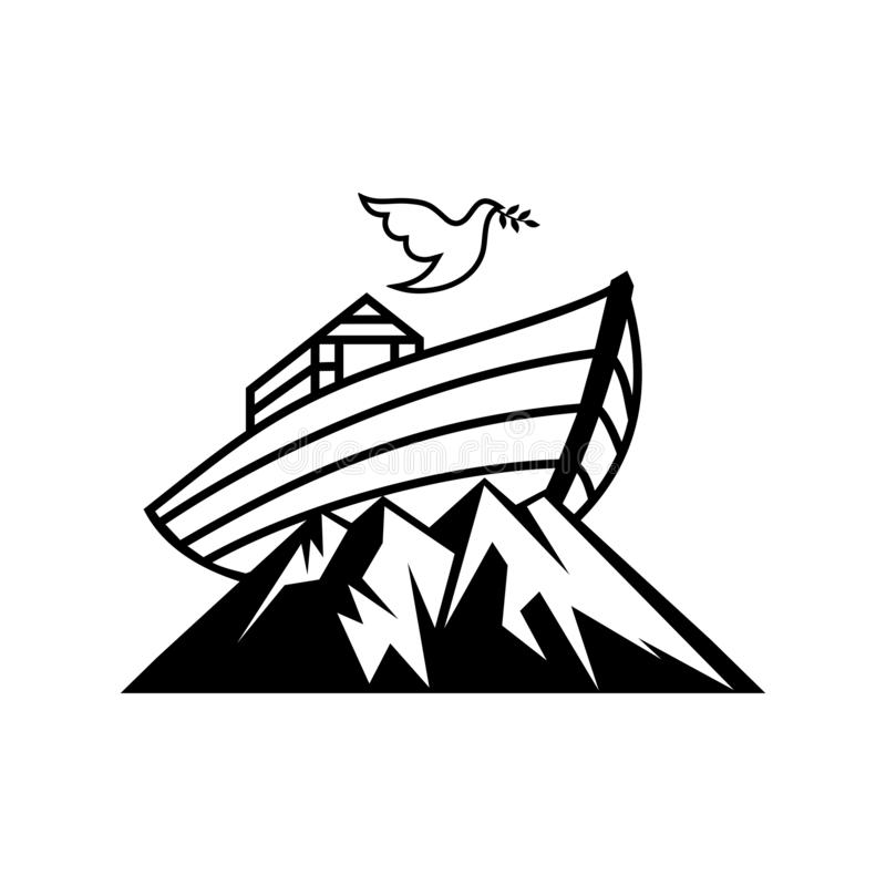 Logo Noah`s ark on top of the mountain. Dove with a branch of olive. Ship to rescue animals and people from the Flood. Biblical illustration vector illustration