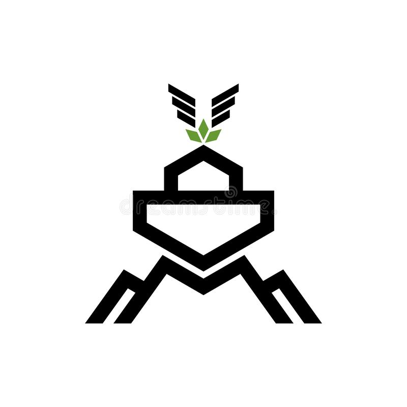 Logo Noah`s ark on top of the mountain.  Ship to rescue animals and people from the Flood. Logo Noah`s ark on top of the mountain. Ship to rescue animals and stock illustration