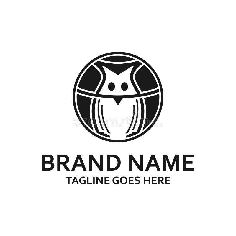 Logo noir circulaire de hibou illustration libre de droits