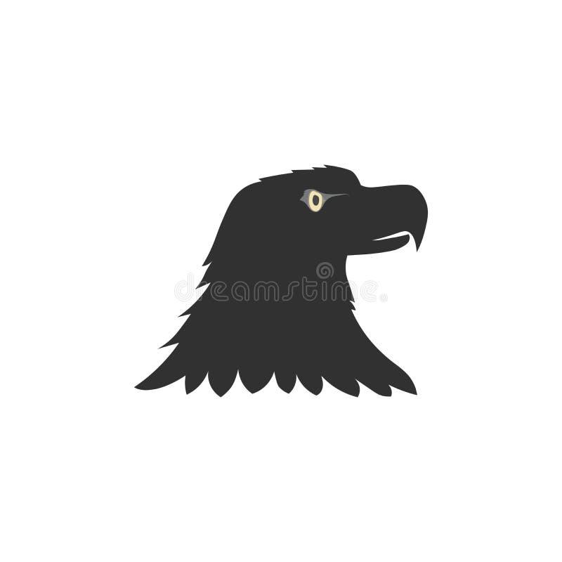 logo noir d'oiseau, silhouette principale d'aigle noir d'isolement sur le fond blanc illustration libre de droits
