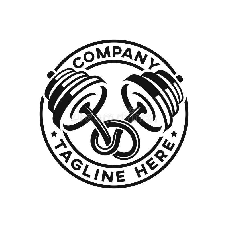 Logo noué moderne de barbell et de gymnase illustration libre de droits