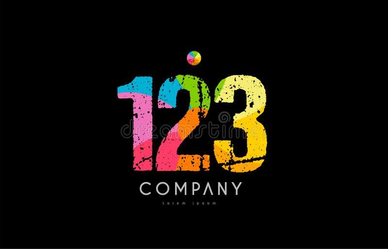 logo numéral de chiffre d'arc-en-ciel grunge de couleur de 123 nombres illustration libre de droits