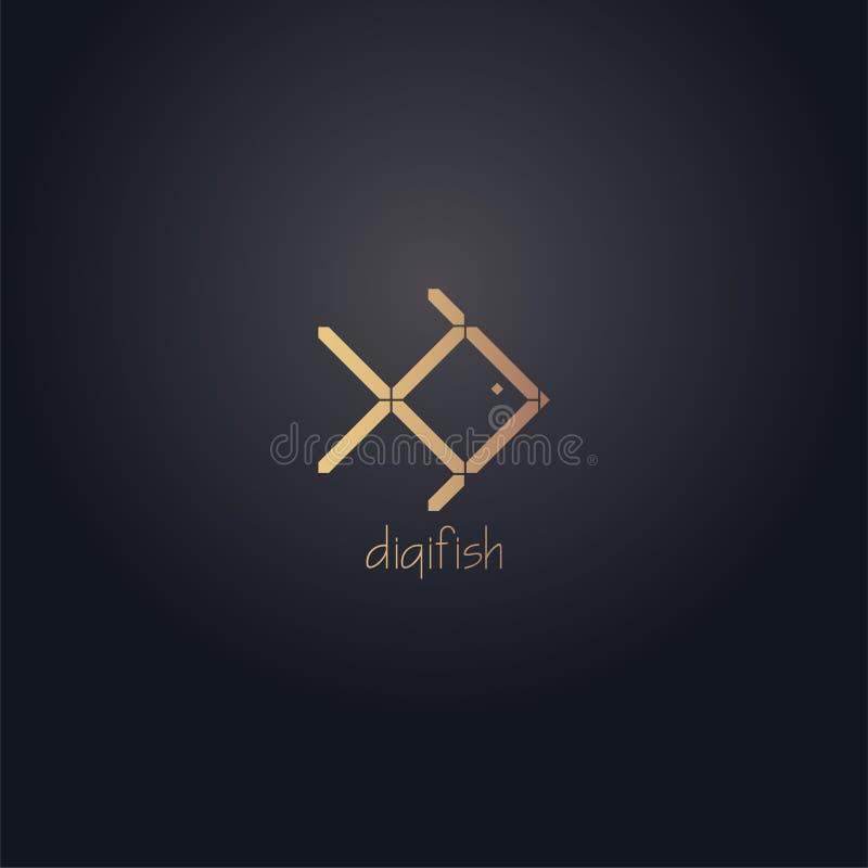 Logo numérique de poissons Vecteur numérique d'effet de couleur d'or avec le fond foncé photo libre de droits