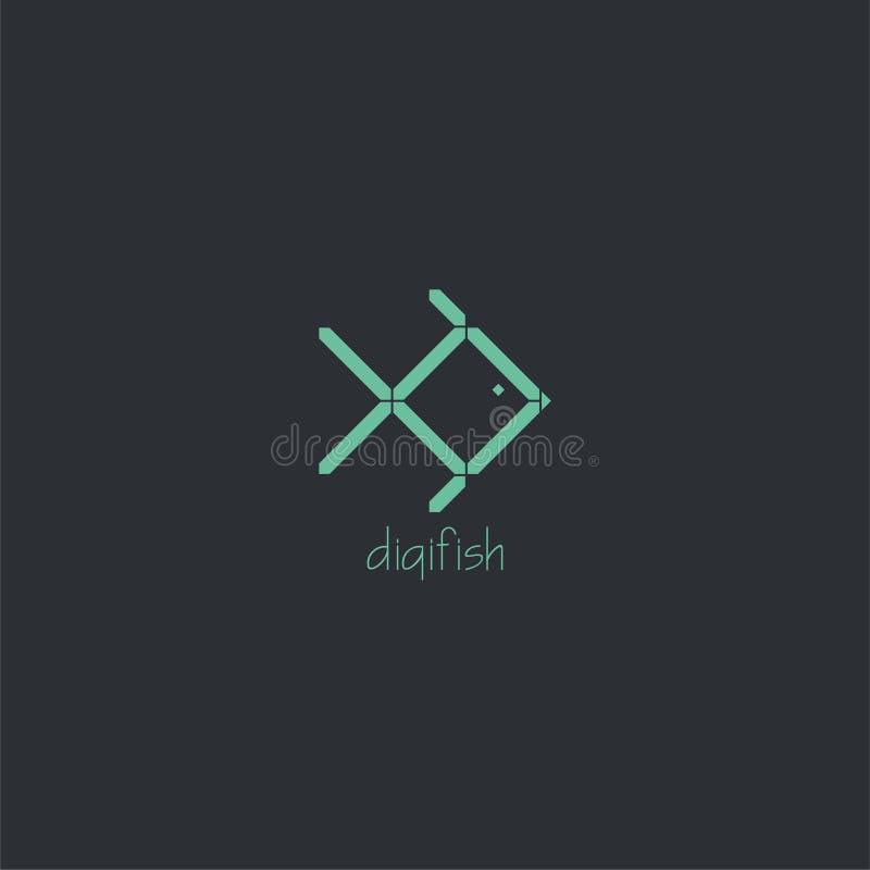 Logo numérique de poissons Vecteur numérique d'effet de couleur vert clair avec le fond foncé photographie stock libre de droits