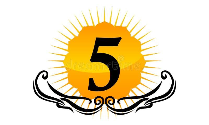 Logo Number moderno 5 ilustração stock