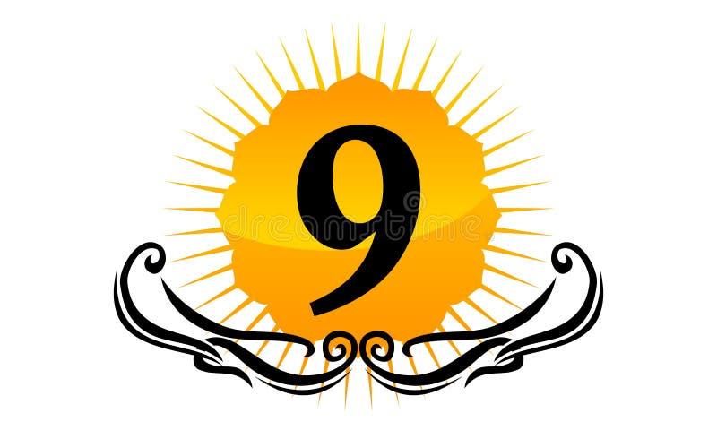 Logo Number moderno 9 ilustração do vetor