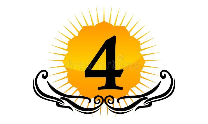 Logo Number moderno 4 ilustração do vetor
