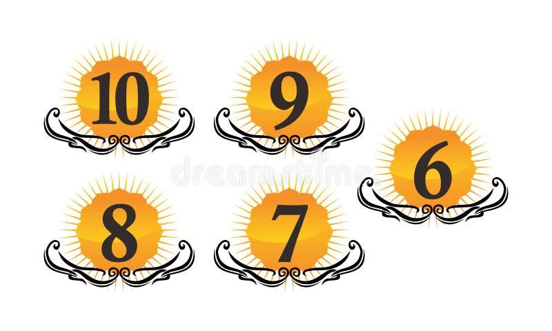Logo Number Set moderno ilustração stock