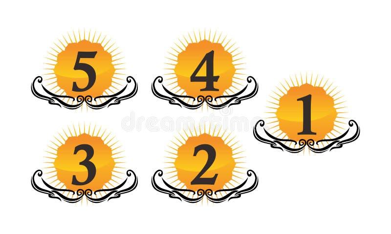 Logo Number Set moderno ilustração royalty free