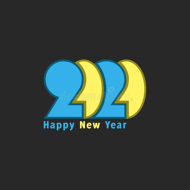 Logo 2020 number and text Happy New Year yellow-blue bright colors, overlapping paper cut design element for typography greeting stock illustration