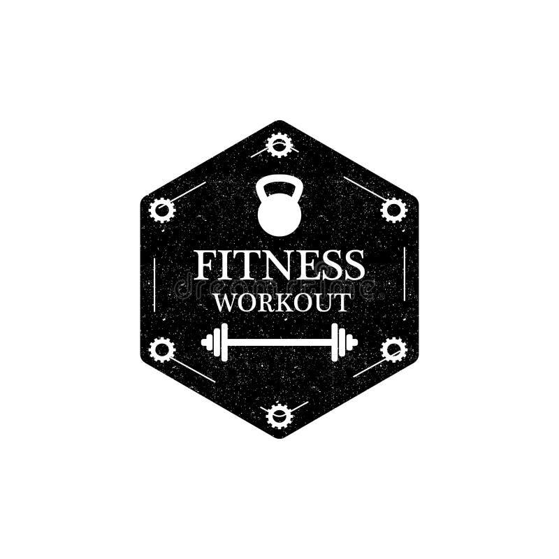Logo o distintivo di allenamento di forma fisica nello stile d'annata Illustrazione di vettore illustrazione di stock