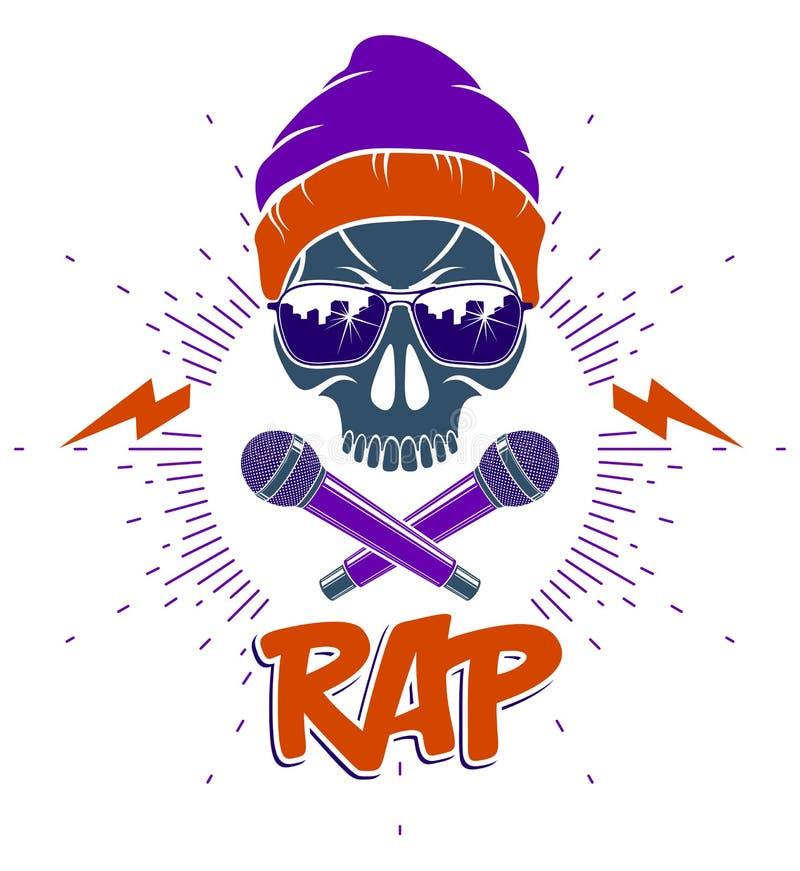 Logo o emblema di vettore di musica rap con il cranio aggressivo e due i microfoni attraversati come le ossa, concerto hip-hop di illustrazione di stock
