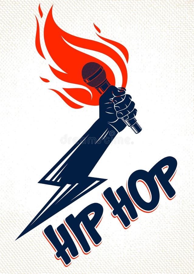 Logo o emblema di vettore di musica rap con le fiamme del microfono e bullone di fulmine disponibile, concerto hip-hop caldo o no illustrazione di stock