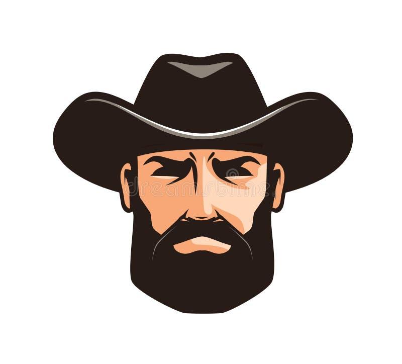 Logo o etichetta americano del cowboy Sceriffo, wrangler, simbolo del rodeo illustrazione vettoriale