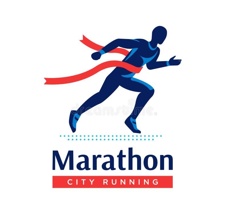 Logo o etichetta maratona corrente Corridore con il nastro rosso Simbolo piano di vettore illustrazione di stock