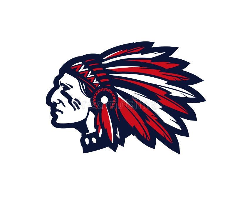 Logo o icona americano di vettore del capo indiano illustrazione vettoriale