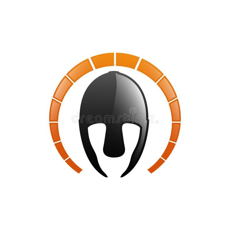 Logo o icona del casco del gladiatore Armatura spartana greca del guerriero nello stile del libro di fumetti del fumetto, illustr royalty illustrazione gratis