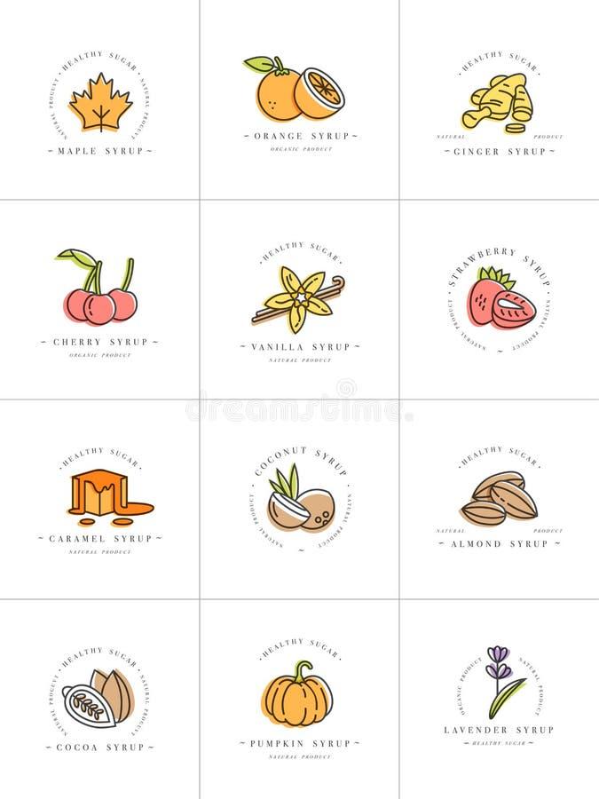 Logo och emblem för mallar för fastställd design för vektor färgrik - sirap och toppningar Skadat och brutet begrepp Logoer i mod royaltyfri illustrationer