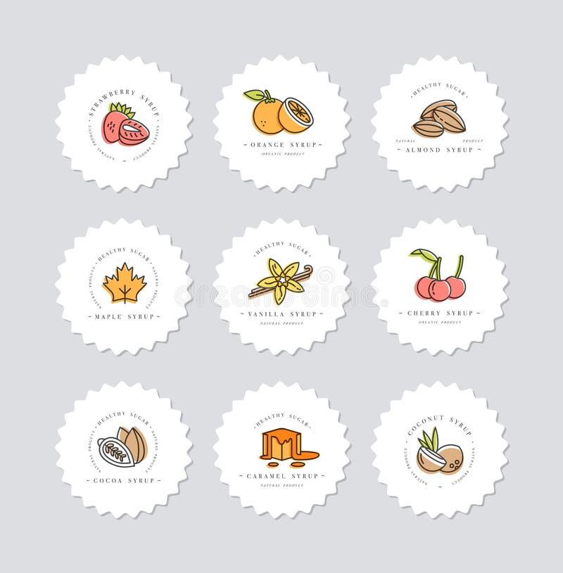 Logo och emblem för mallar för fastställd design för vektor färgrik - sirap och toppningar Skadat och brutet begrepp Logoer i mod stock illustrationer