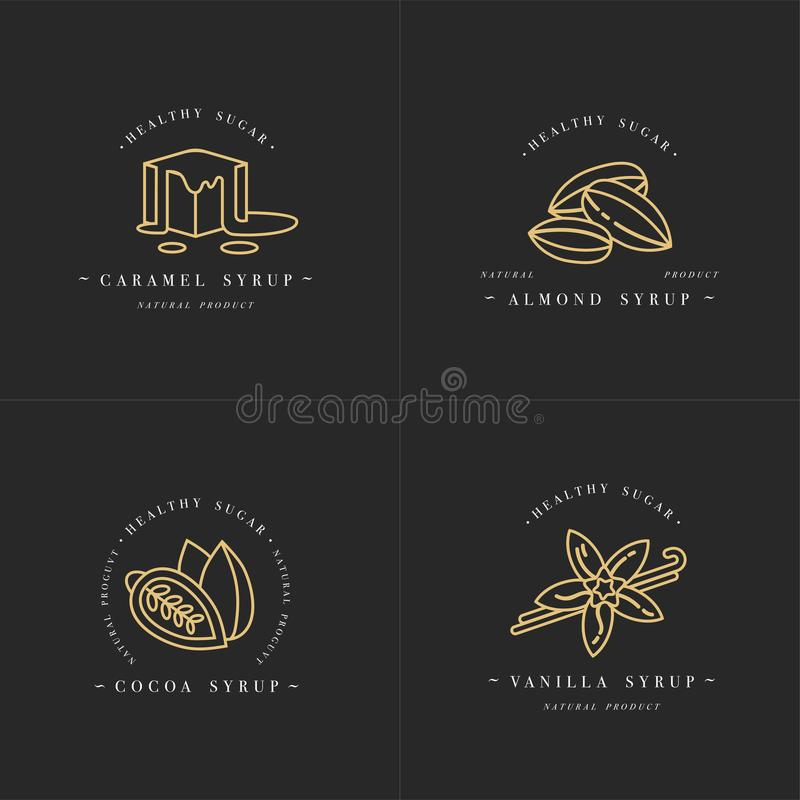 Logo och emblem för mallar för fastställd design för vektor guld- - sirap och toppning-karamell, mandel, kakao, vanilj Skadat och stock illustrationer