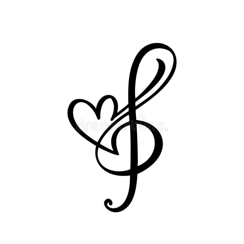 Logo och symbol för vektor för musiktangent- och hjärtaabstrakt begrepphand utdragen Plan designmall för musikaliskt tema Isolera royaltyfri illustrationer