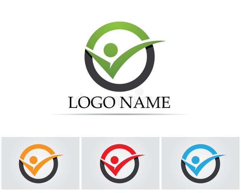 Logo och symboler för stjärna för framgångfolkaffär stock illustrationer