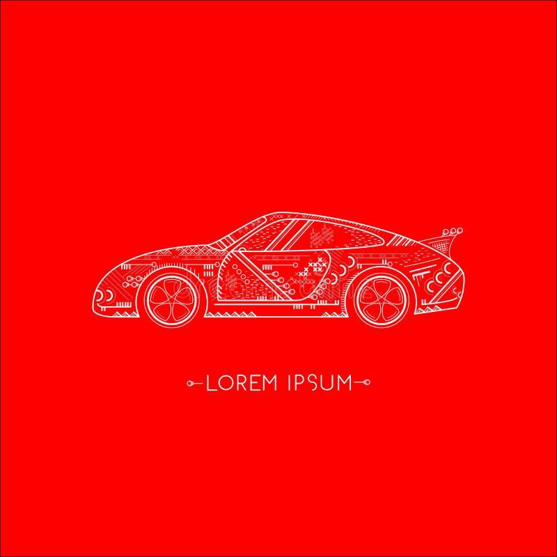 Logo- och symbolsbil, röd bakgrund royaltyfri illustrationer