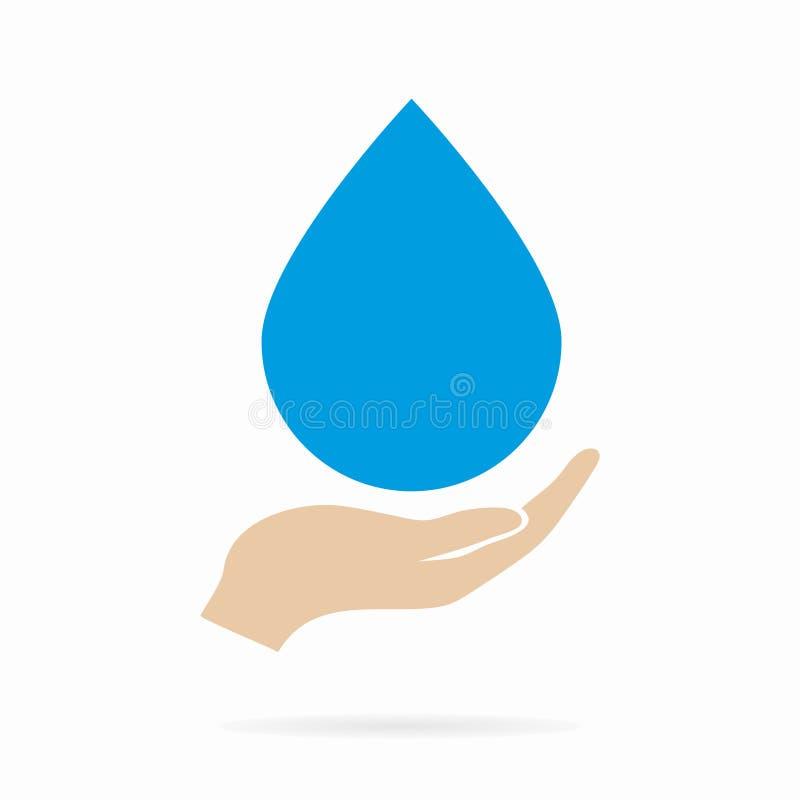 Logo oder Ikone des Wassertropfens in der Hand vektor abbildung