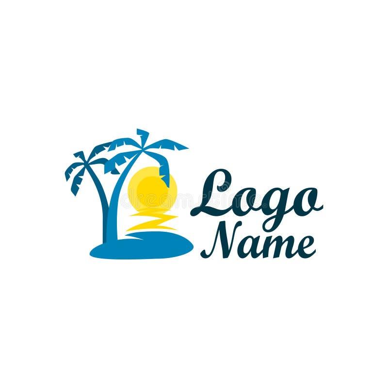 Logo odizolowywający agencja podróży Symbol wakacje, podróż i odtwarzanie w ciepłych krajach, Logo z drzewkami palmowymi obrazy royalty free