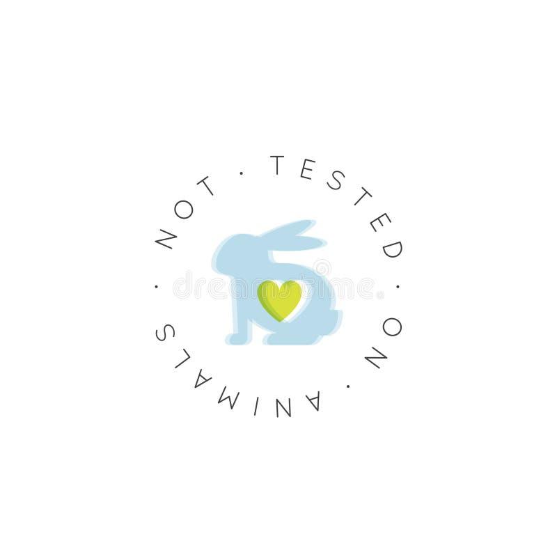 Logo odznaka z królikiem i sercem Badającymi Na zwierzętach, okrucieństwa Lab produktu etykietka Swobodnie royalty ilustracja
