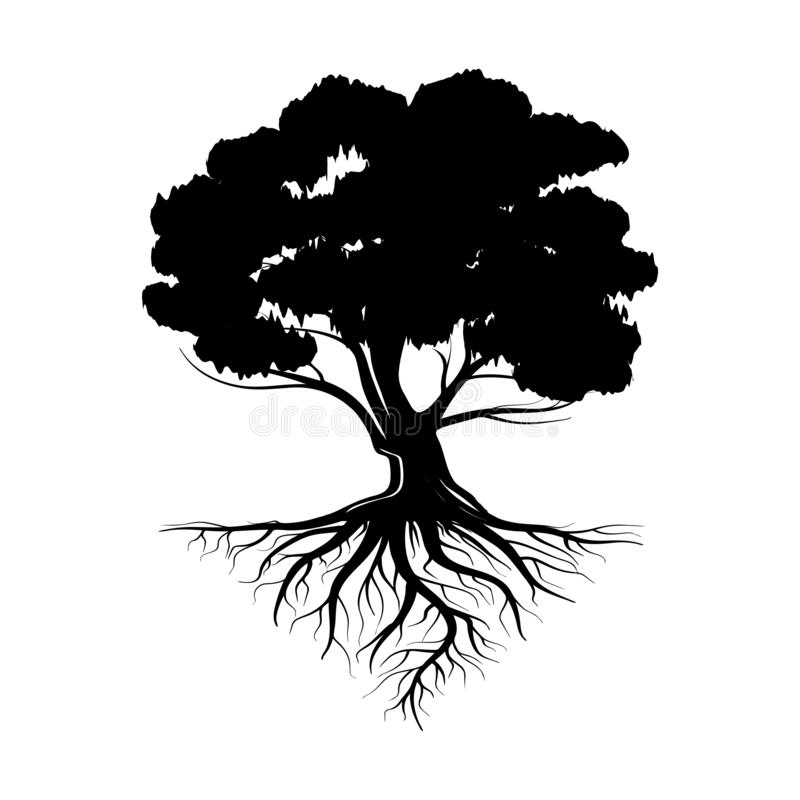 Free Logo Of A Black Life Tree With Roots And Leaves. Vector Illustration Icon Isolated On White Background Stock Image - 139934861