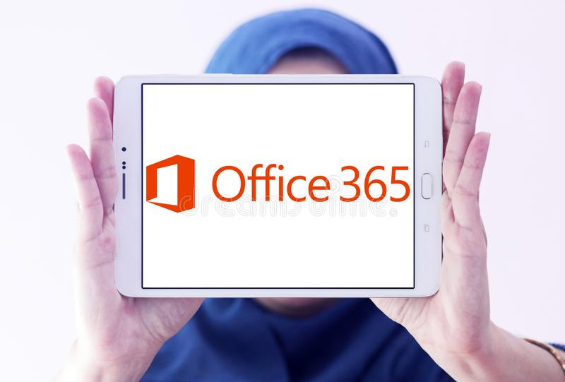 Office 365 logo. Logo of Office 365 on samsung tablet holded by arab muslim woman. Office 365 is the brand name Microsoft uses for a group of subscriptions that royalty free stock image