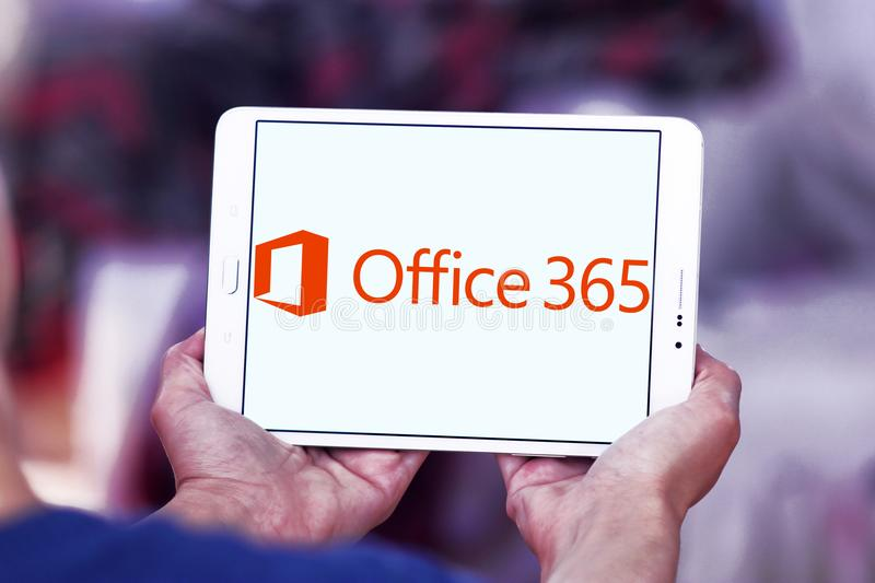Office 365 logo. Logo of Office 365 on samsung tablet. Office 365 is the brand name Microsoft uses for a group of subscriptions that provides productivity royalty free stock photo