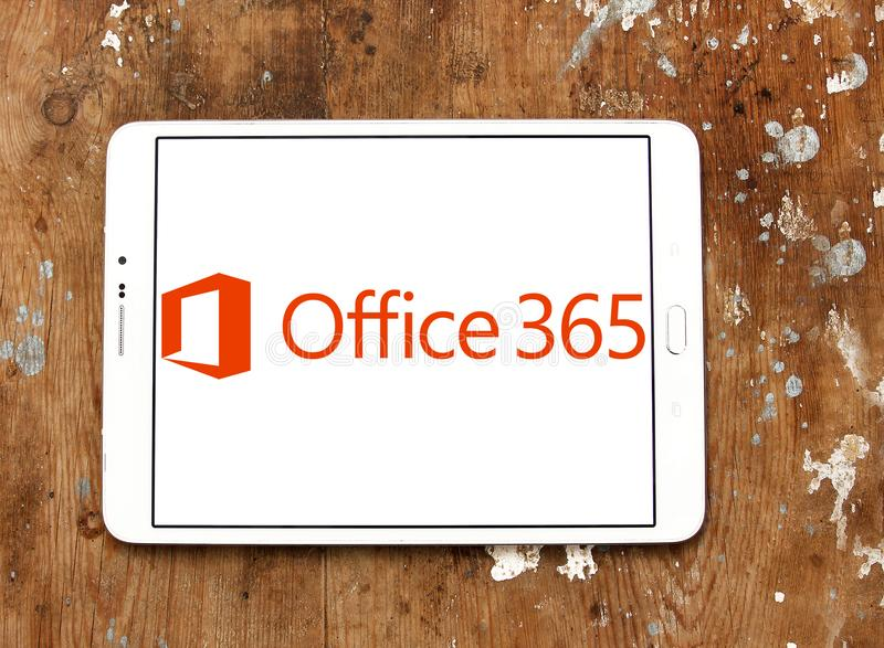 Office 365 logo. Logo of Office 365 on samsung tablet . Office 365 is the brand name Microsoft uses for a group of subscriptions that provides productivity stock photography