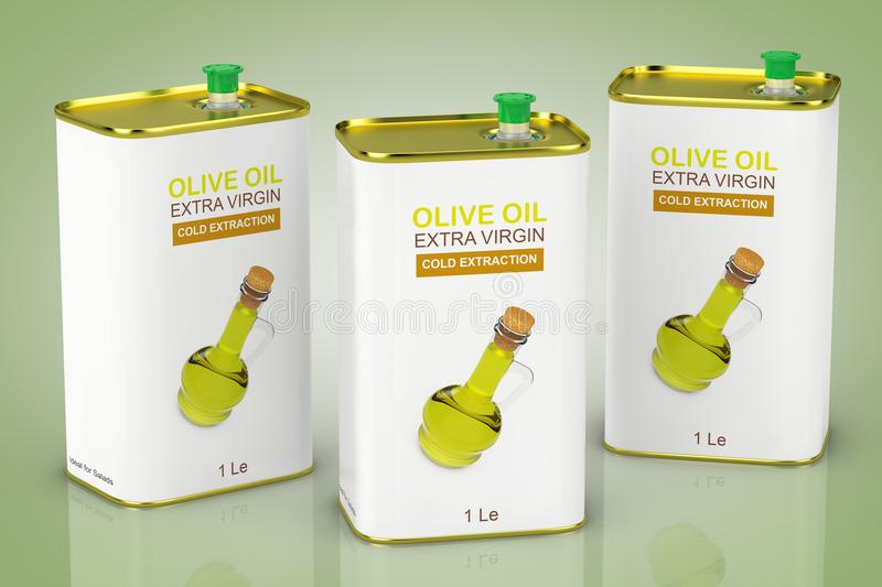 Logo Olive Oil Extra Virgin Metal abstracto puede representación 3d libre illustration