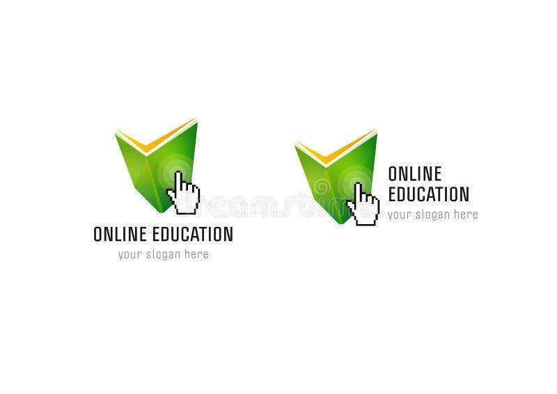 Logo online del controllo del libro della mano di istruzione royalty illustrazione gratis