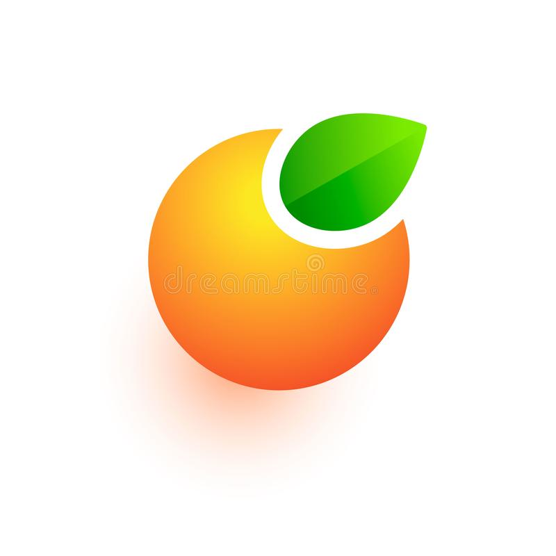 Logo orange de vecteur, icône abstraite de fruit, signe de jus de boissons d'isolement sur le blanc illustration stock