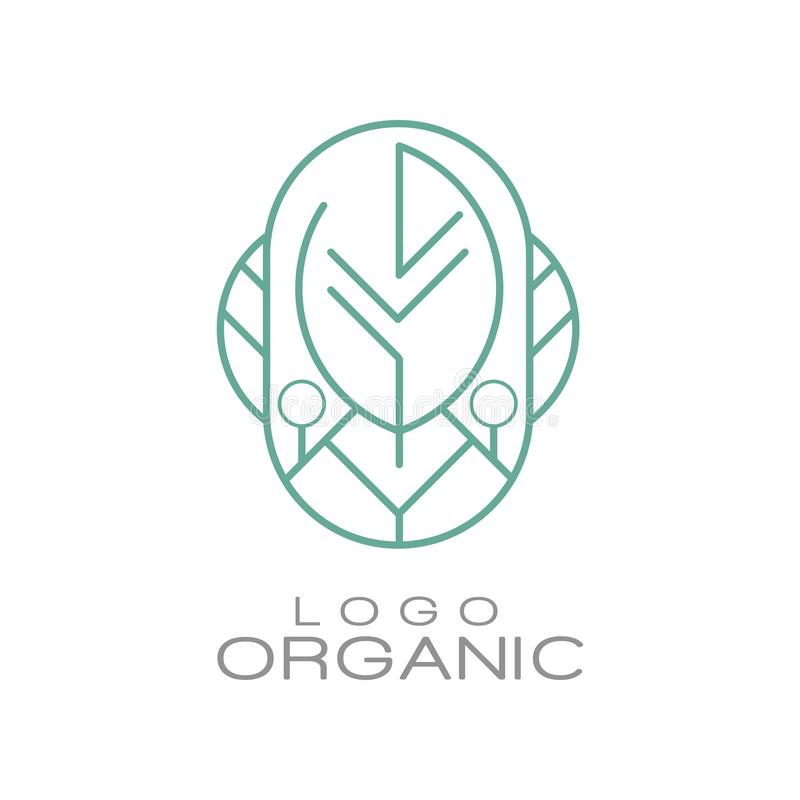 Logo organic, badge for eco healthy products, natural cosmetics, premium quality food and drinks, packaging vector. Illustration isolated on a white background vector illustration