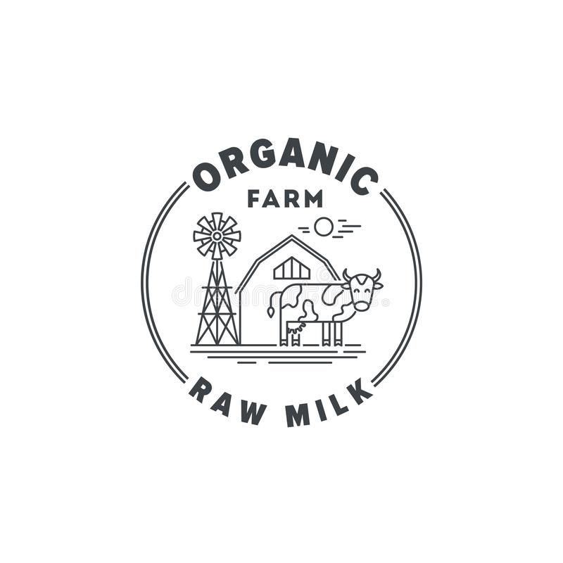 Logo Organic farm products and raw milk vector linear illustration isolated on white background. Farming sign with cow royalty free illustration