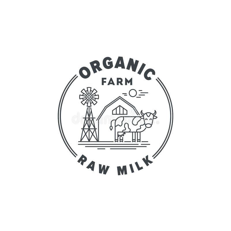 Logo Organic gårdsprodukter och rått mjölkar den linjära illustrationen för vektorn som isoleras på vit bakgrund Lantbruktecken m royaltyfri illustrationer