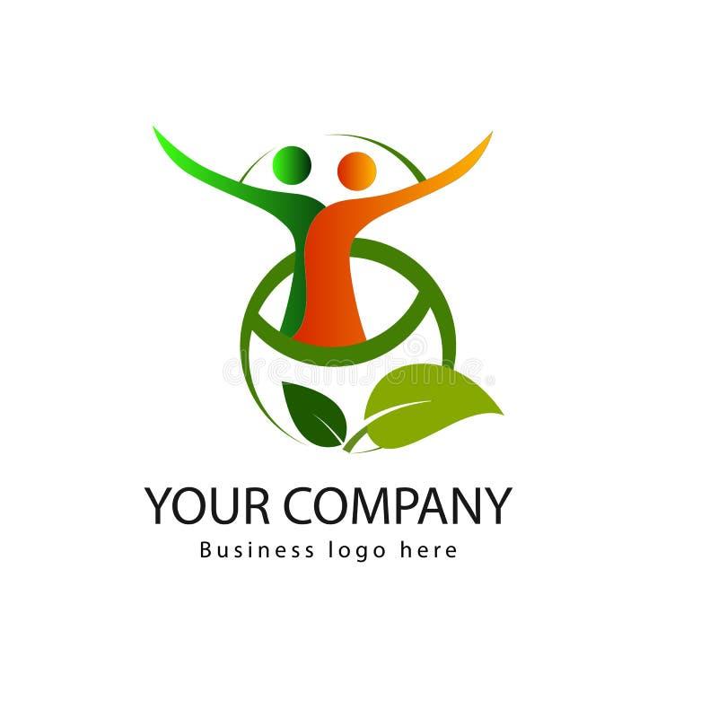 Logo organico semplice con le foglie e la gente illustrazione di stock