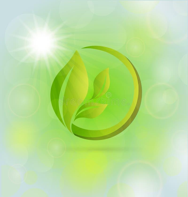 Logo organique vert abstrait d'icône de feuilles illustration stock