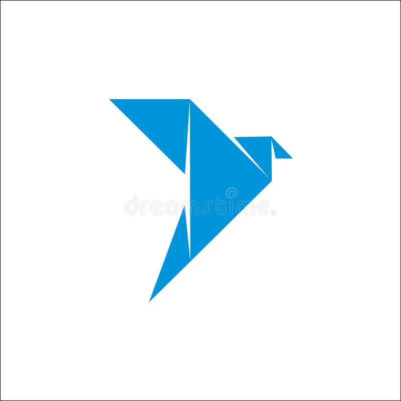 Logo Origami Bird Fly Blue. Color,abstract bird vector illustration