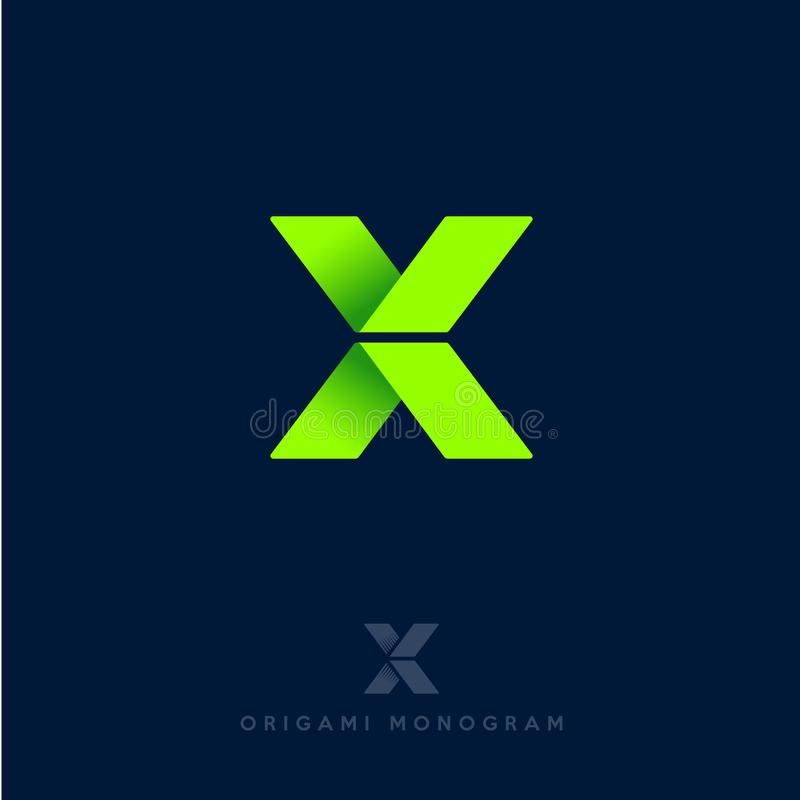 logo x Origami list Zielone strzała jako faborek, odizolowywający na ciemnym tle Dostawy lub budowy emblemat ilustracji