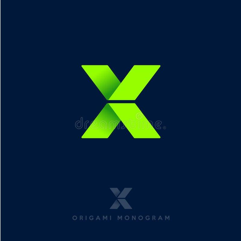 logo x Origamibokstav Gröna pilar som bandet som isoleras på en mörk bakgrund Leverans- eller konstruktionsemblem stock illustrationer