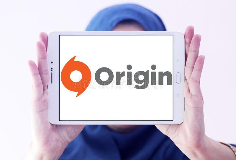 Origin digital distribution software logo. Logo of Origin digital distribution software on samsung tablet holded by arab muslim woman. Origin is an online gaming stock photography